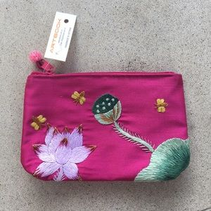 Handmade Embroidered Lotus Fuschia Pouch